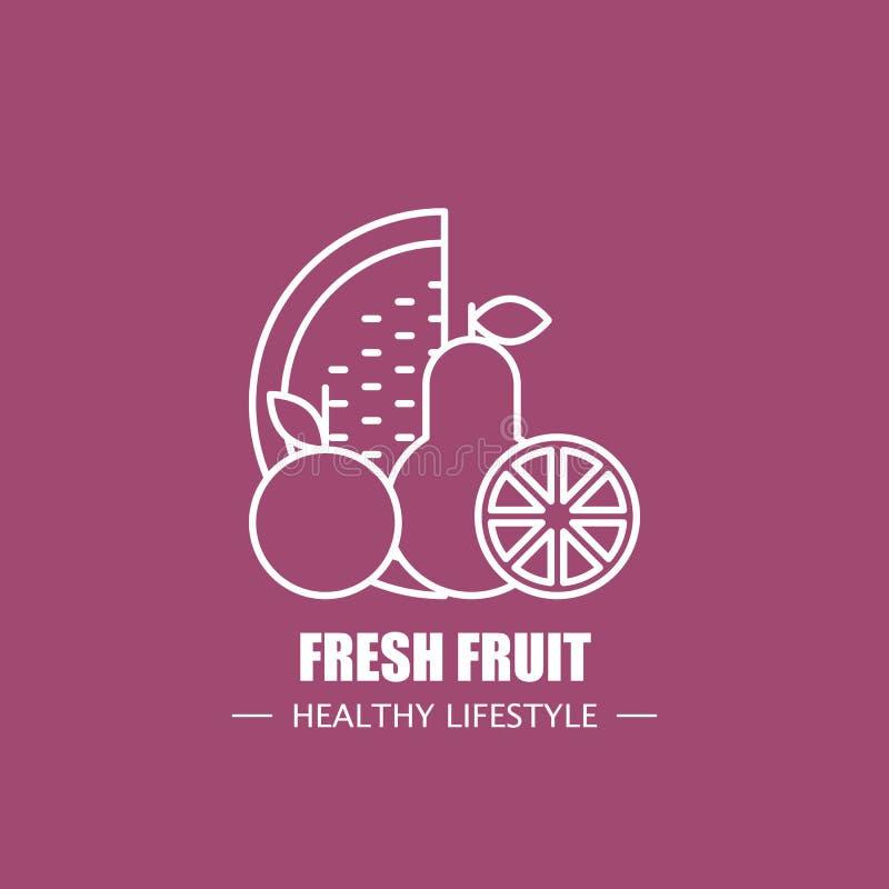 Molde do projeto do logotipo do vetor do alimento do fruto fresco Elemento de marcagem com ferro quente linear moderno para a emp ilustração royalty free