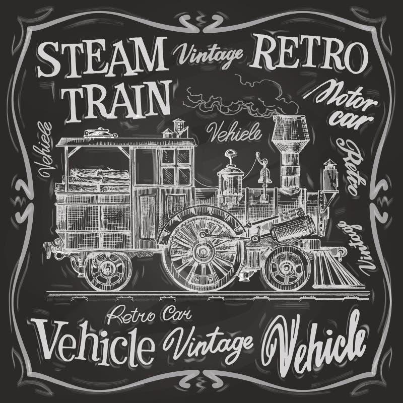 Molde do projeto do logotipo do vetor do trem do vapor ilustração do vetor