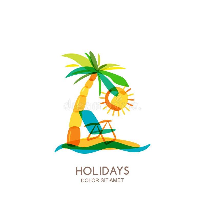Molde do projeto do logotipo do vetor Ilha, palmas e cadeira de praia coloridas no beira-mar ilustração do vetor