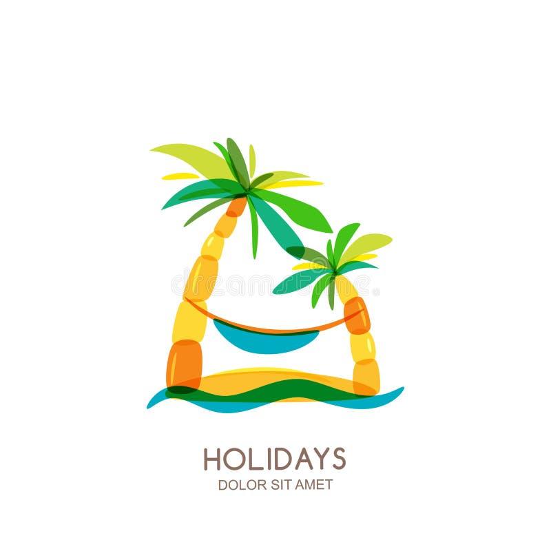 Molde do projeto do logotipo do vetor Ilha, palmas e rede coloridas abstratas no beira-mar ilustração do vetor