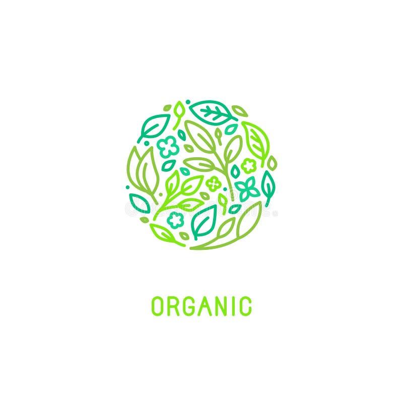 Molde do projeto do logotipo do vetor no estilo linear na moda ilustração royalty free