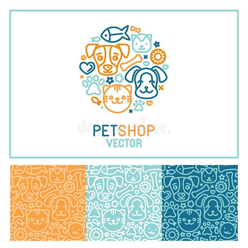 Molde do projeto do logotipo do vetor para lojas de animais de estimação ilustração royalty free