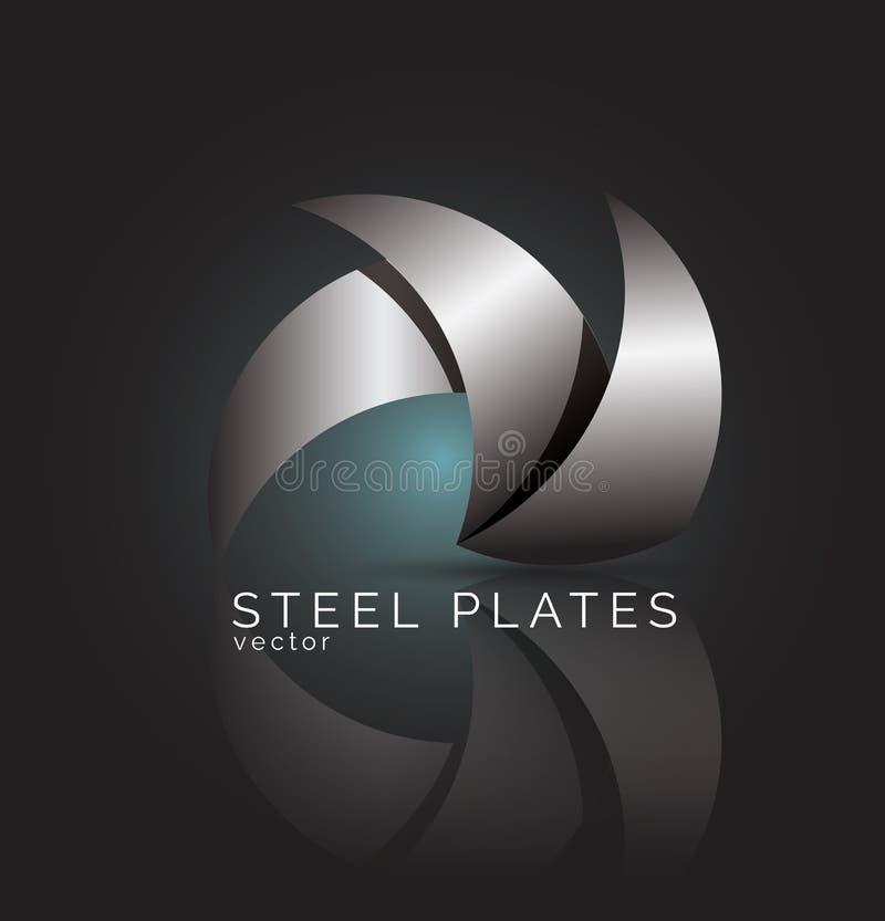 Molde do projeto do logotipo do vetor Placas de aço azuis e cinzentas abstratas fotografia de stock
