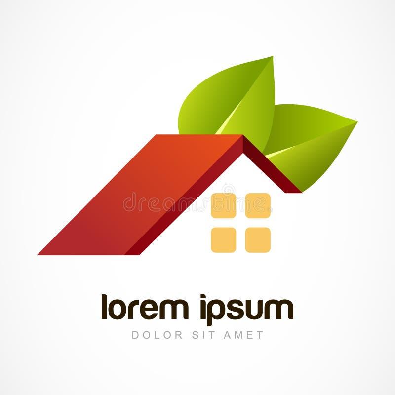 Molde do projeto do logotipo do vetor Telhado vermelho da casa com folhas verdes d ilustração royalty free