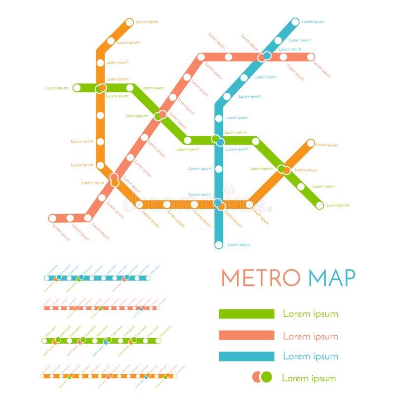Molde do projeto do mapa do metro ou do metro conceito do esquema do transporte da cidade Ilustração do vetor ilustração stock