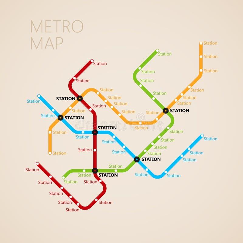 Molde do projeto do mapa do metro ou do metro Conceito do transporte ilustração royalty free