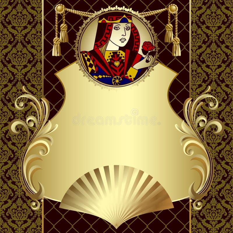 Molde do projeto do ouro do vintage com caráter dos cartões de jogo ilustração do vetor
