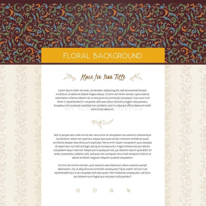 Molde do projeto do página da web do vetor no estilo floral ilustração royalty free