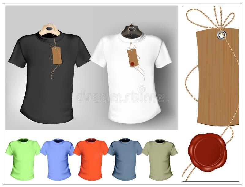 Molde do projeto do t-shirt. Preto, branco e cor. ilustração stock
