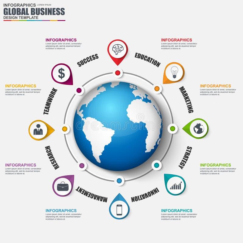 Molde do projeto do vetor do negócio global de Infographic ilustração stock