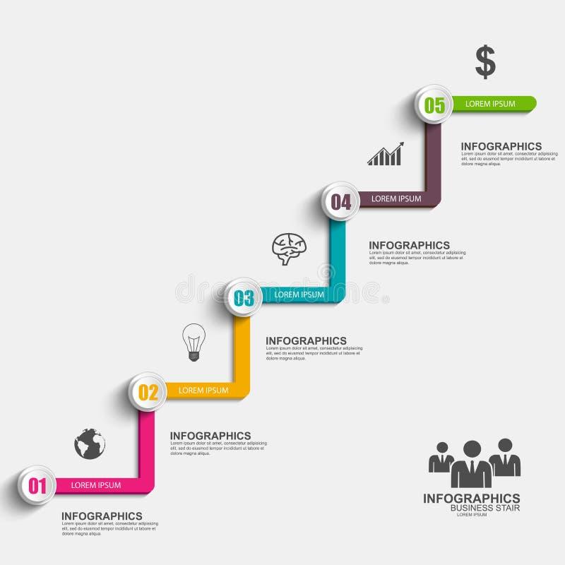 Molde do projeto do vetor do sucesso da etapa da escada do negócio de Infographics ilustração royalty free