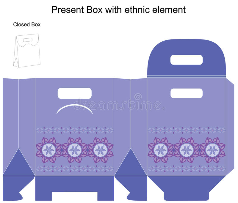 Molde do projeto do vetor para a caixa de presente ilustração do vetor