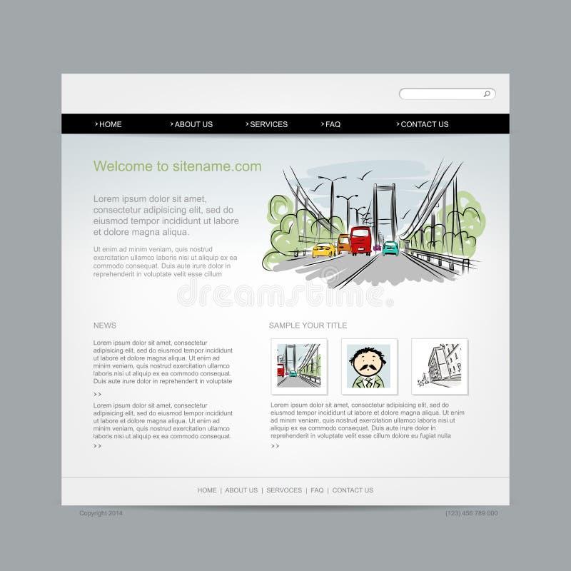Molde do projeto do Web site, arquitetura da cidade ilustração royalty free