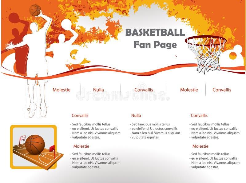Molde do projeto do Web site do basquetebol ilustração do vetor
