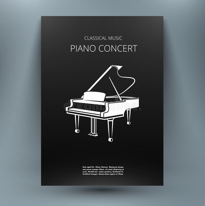 Molde do projeto dos meios da música do piano de cauda Folha do título do folheto A4 ilustração do vetor