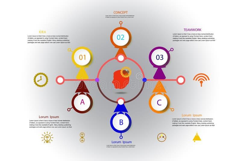 Molde do projeto do espaço temporal do infographics do vetor com etiqueta do papel 3D ilustração royalty free