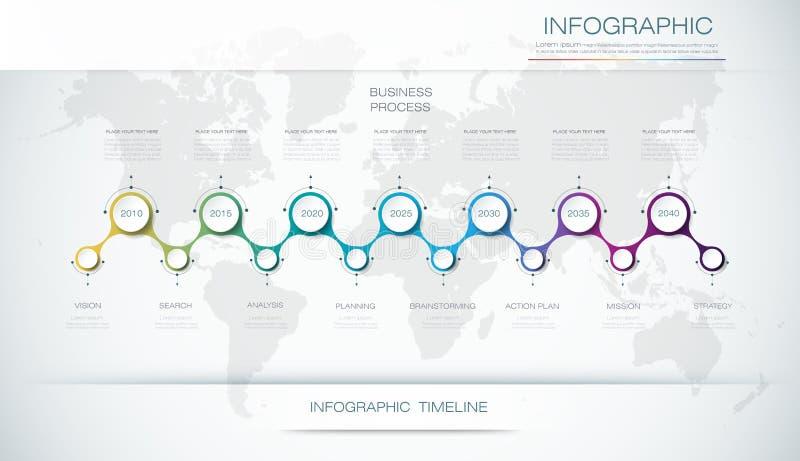 Molde do projeto do espaço temporal do infographics do vetor com opções das etapas da etiqueta e do gráfico 7 do papel 3D ilustração stock