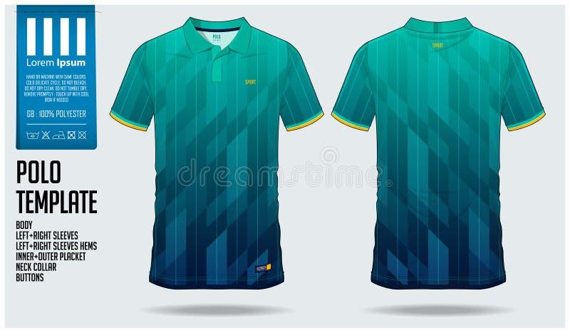 Molde do projeto do esporte da camisa do polo t para o jérsei de futebol, o jogo do futebol ou o clube de esporte Ostente o unifo ilustração royalty free