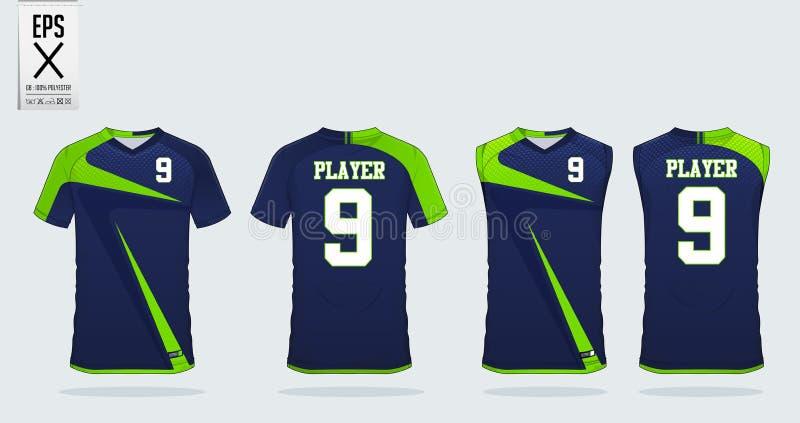 Molde do projeto do esporte do t-shirt para o jérsei de futebol, o jogo do futebol e a camiseta de alças para o jérsei do basquet ilustração royalty free