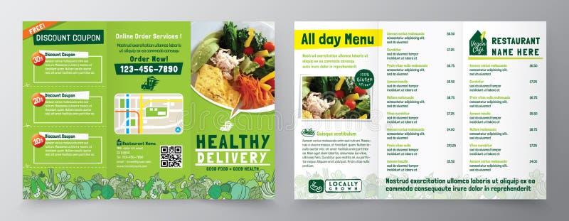 Molde do projeto do folheto do panfleto do inseto da entrega do alimento no tamanho A4 dobrável em três partes Refeição saudável, ilustração do vetor