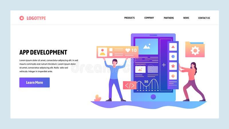 Molde do projeto do inclinação do site do vetor Desenvolvimento da codificação e do app do software Conceitos da página da aterri ilustração do vetor