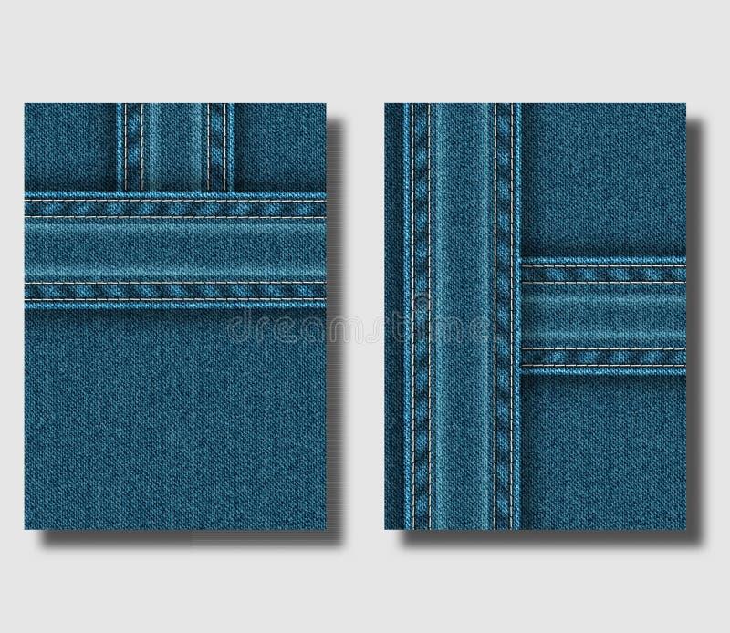 Molde do projeto do inseto de propaganda com fundo azul da sarja de Nimes e tiras costuradas das calças de brim Pode ser usado pa ilustração stock
