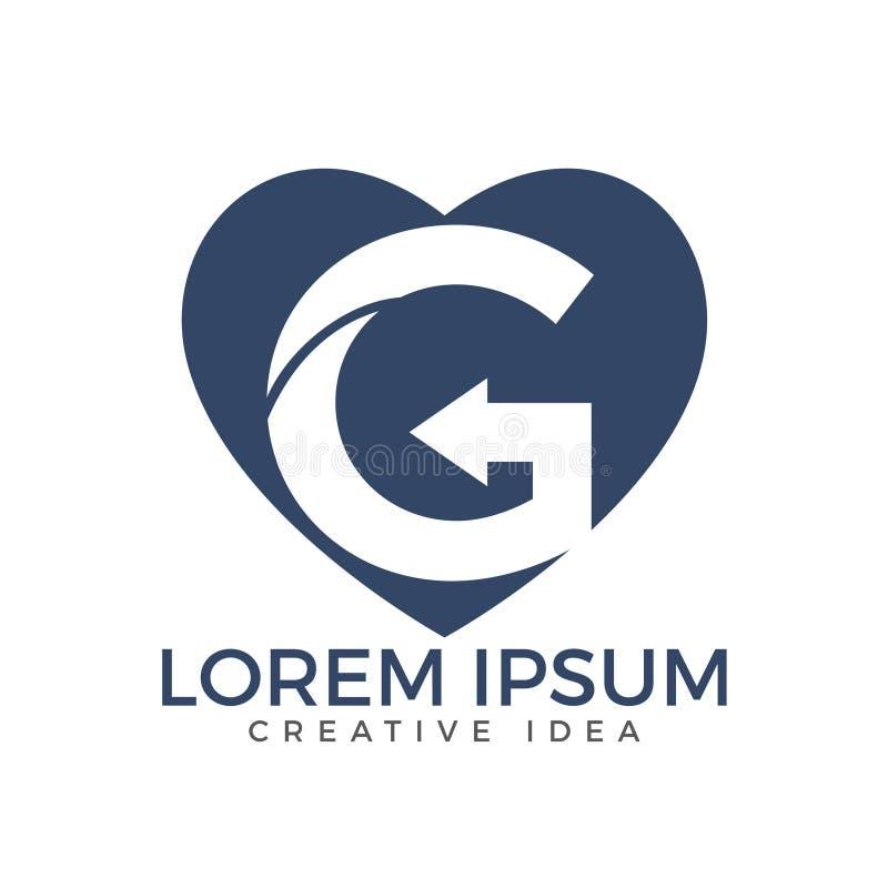 Molde do projeto do logotipo do ícone da seta de G da letra Logotipo dado forma coração de G da letra ilustração royalty free