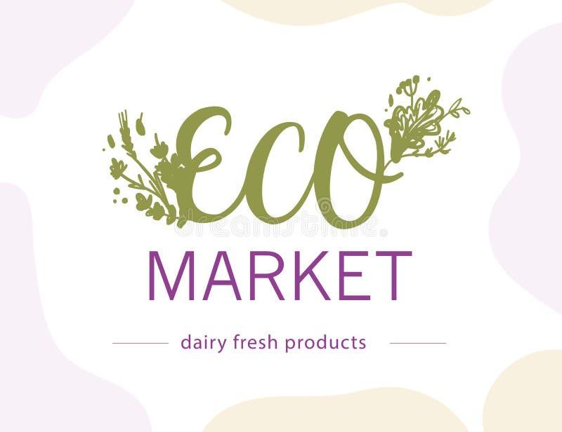 Molde do projeto do logotipo do alimento do mercado do eco do vetor isolado no fundo branco ilustração royalty free