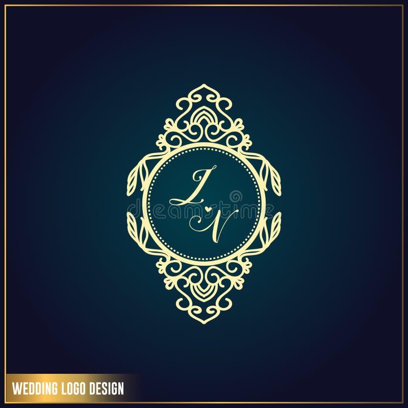 Molde do projeto do logotipo do casamento Logotipo do casamento do JV da letra de iniciais Ornamento elegante feminino do projeto ilustração stock