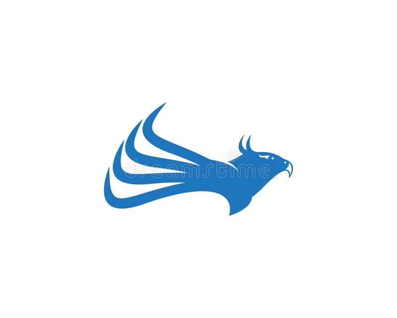 Molde do projeto do logotipo da asa da águia do falcão ilustração do vetor