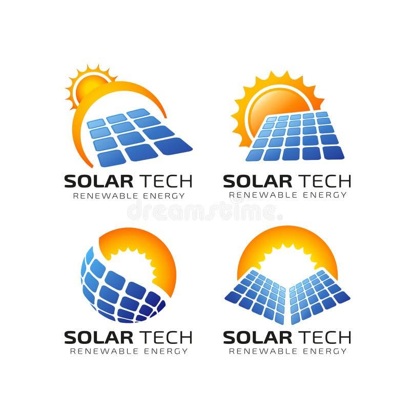 Molde do projeto do logotipo da energia solar de Sun projeto solar do logotipo da tecnologia ilustração royalty free