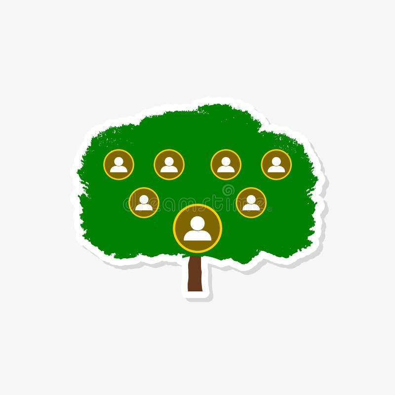 Molde do projeto do logotipo da etiqueta do símbolo da árvore genealógica ilustração do vetor