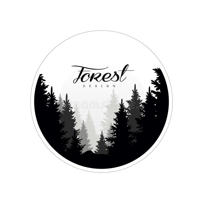 Molde do projeto do logotipo da floresta, paisagem bonita da natureza com as silhuetas de árvores coníferas da floresta na névoa, ilustração do vetor