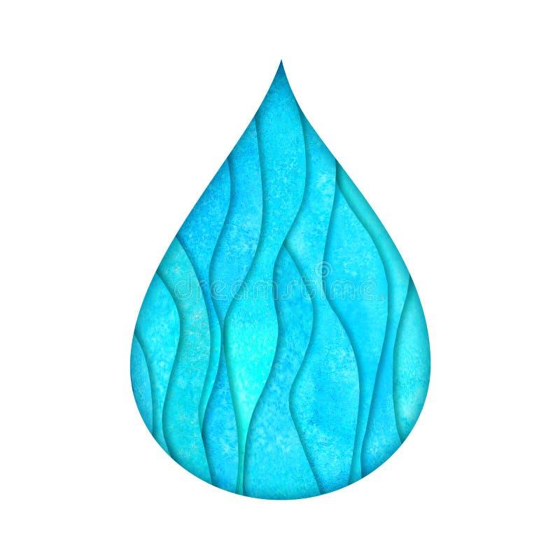 Molde do projeto do logotipo da gota da ?gua Logotype azul pintado à mão do estilo do corte do papel de turquesa da cerceta do Wa ilustração royalty free
