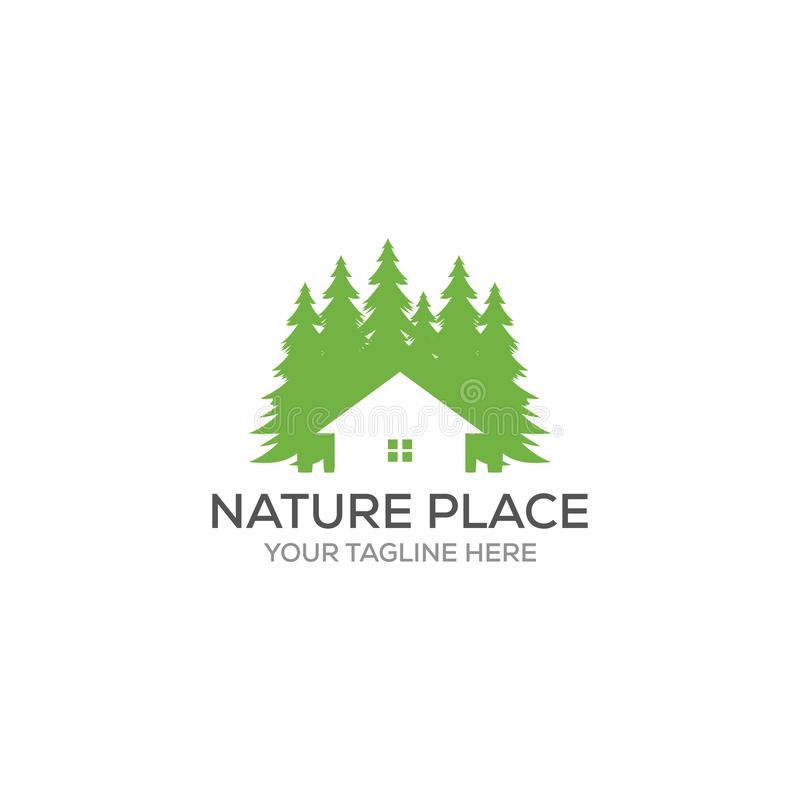 Molde do projeto do logotipo do vetor dos pinheiros e da casa que fizeram de um risco simples é bom para simboliza uma proprieda ilustração royalty free
