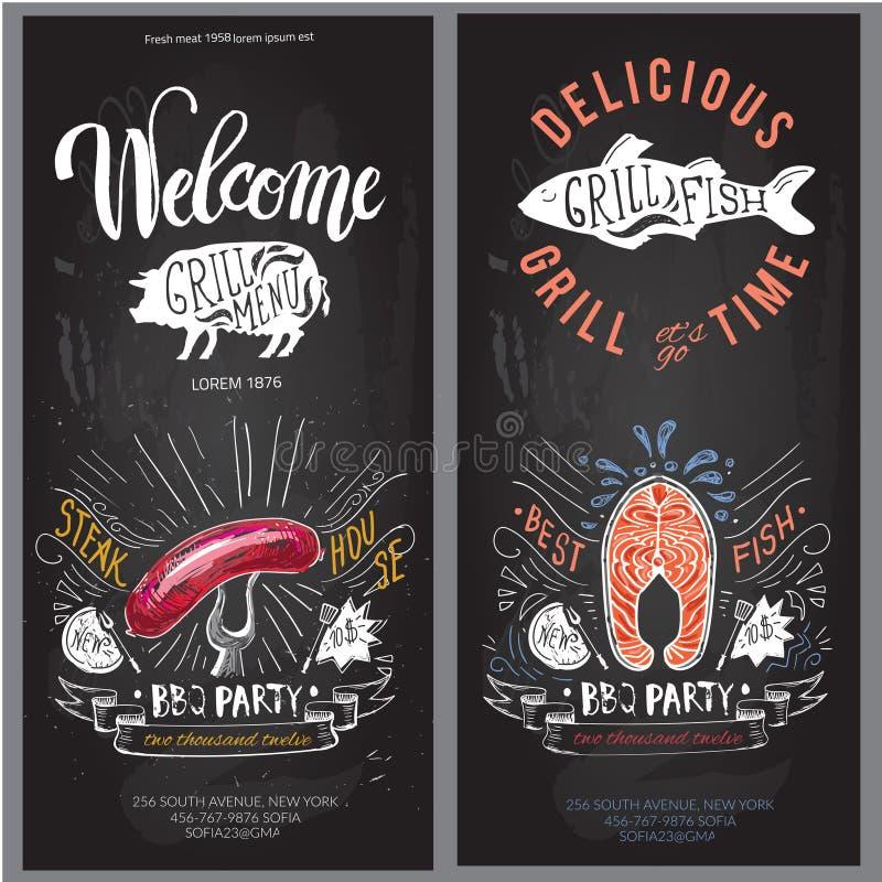 Molde do projeto do logotipo do vetor do fast food ícone da placa do Hamburger, dos peixes ou do menu ilustração stock