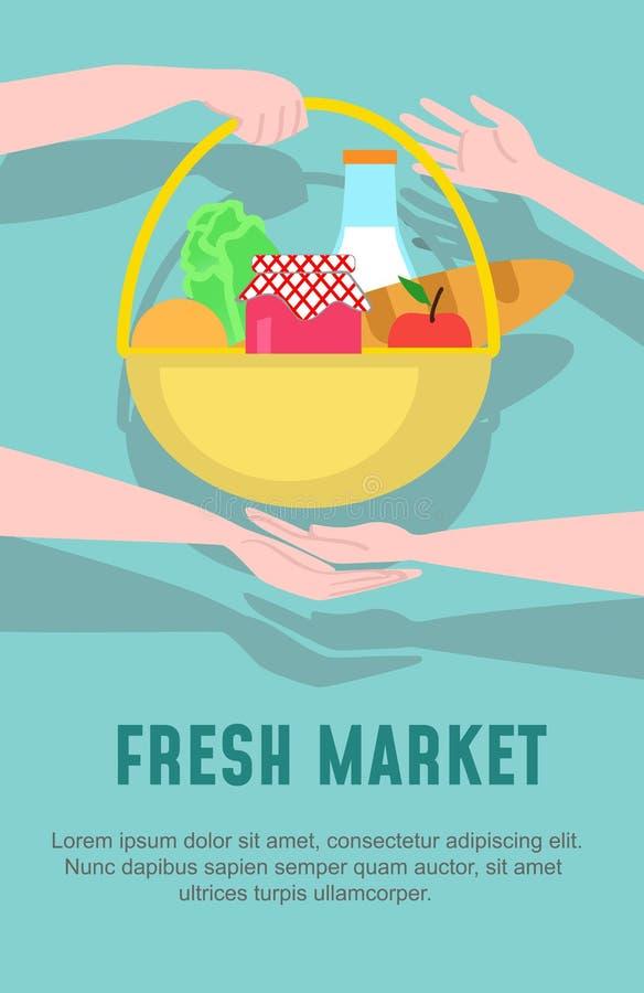 Molde do projeto do mercado de produto fresco Ilustração do vetor no estilo liso ilustração stock