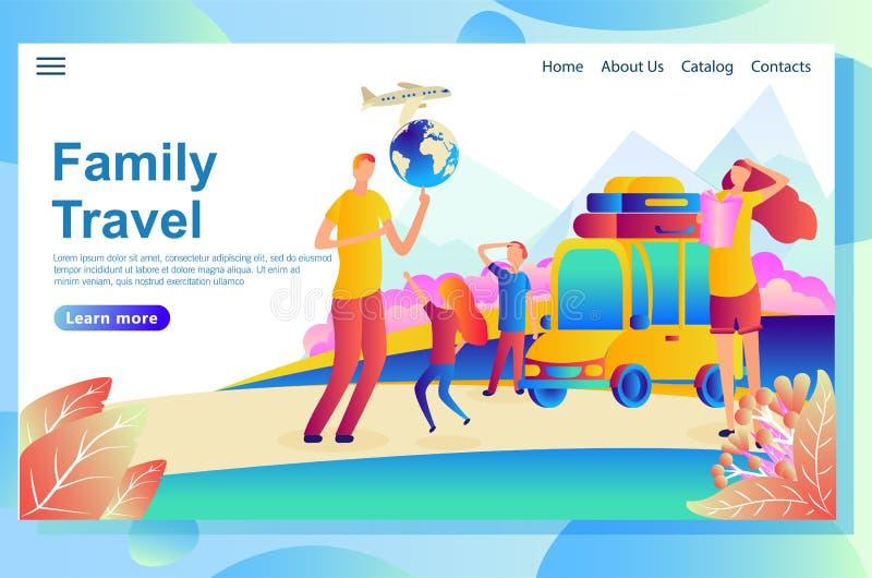 Molde do projeto do página da web para férias em família ao beira-mar ilustração royalty free
