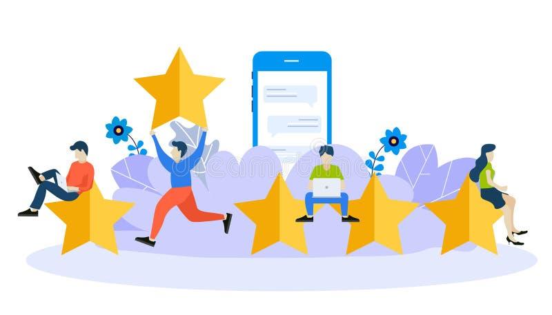 Molde do projeto do página da web para o feedback, as mensagens das homenagens e as notificações Conceitos modernos da ilustração ilustração stock