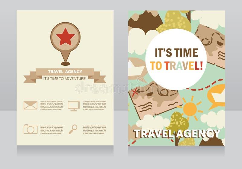 Molde do projeto para o cartão da agência de viagens ilustração do vetor
