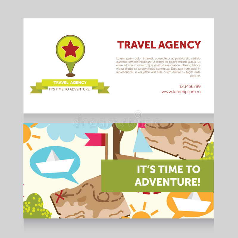 Molde do projeto para o cartão da agência de viagens ilustração royalty free
