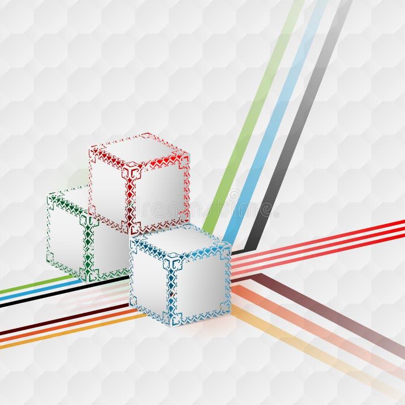 Molde do projeto para o fundo abstrato; Três artísticos dos cubos das dimensões projetados ilustração royalty free