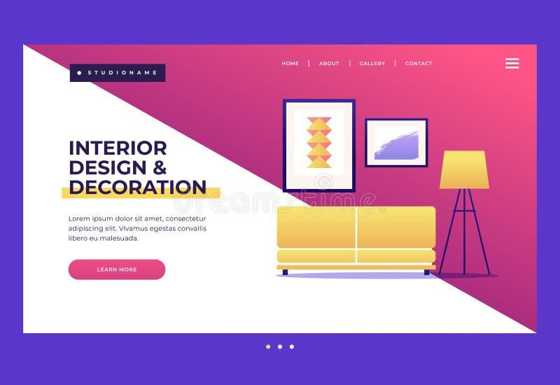 Molde do projeto para a página de aterrissagem homepage Conceitos do design de interiores e da decoração ilustração royalty free