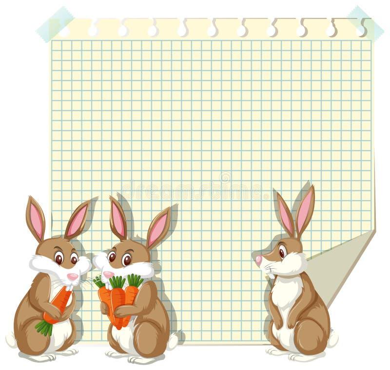 Molde do projeto do quadro com três coelhos ilustração do vetor