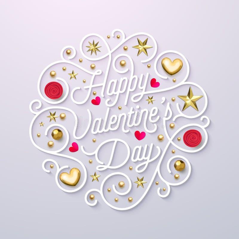 Molde do projeto do texto da caligrafia do ouro do cartão de Valentine Day Vector a rotulação ornamentado do ouro feliz do dia de ilustração stock