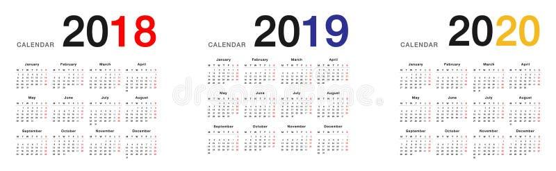 Molde do projeto do vetor do calendário do ano 2018 e do ano 2019 e do ano 2020, ilustração royalty free