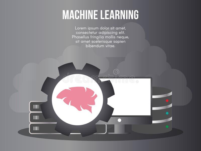 Molde do projeto do vetor da ilustração do conceito da aprendizagem de máquina ilustração do vetor
