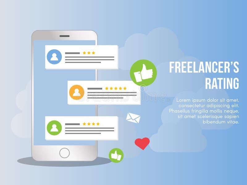 Molde do projeto do vetor da ilustração do conceito da avaliação do Freelancer ilustração royalty free