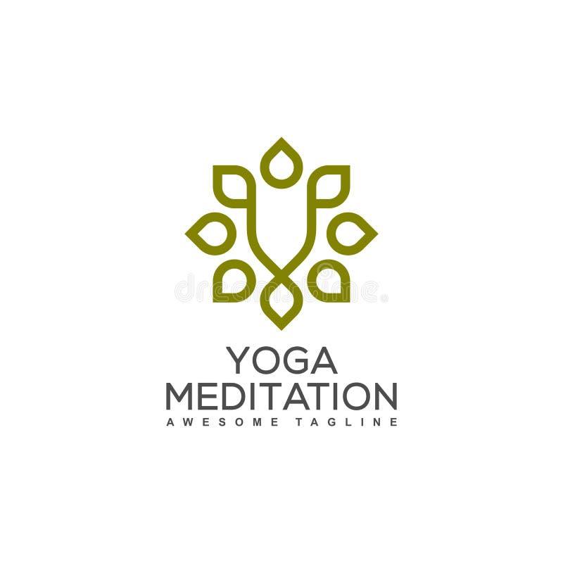 Molde do projeto do vetor da ilustração do ornamento da ioga ilustração stock