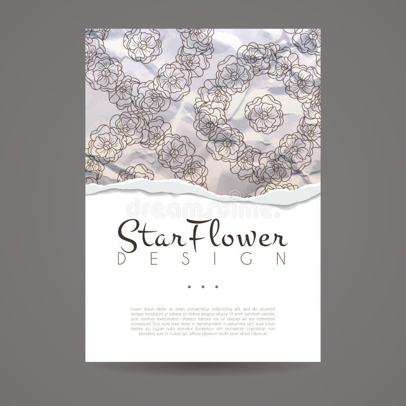 Molde do projeto do vetor Estilo da flor do folheto Quadro ou fundo do vintage ilustração royalty free